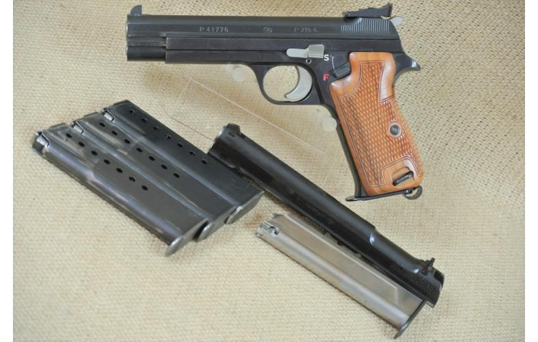 """"""" VERKAUFT """" Halbautomatische Pistole, SIG Mod. P 210-6, Kal. 9 mm Luger - inkl. nummergleichen Wechselsystem Kal. .22lr."""